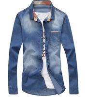 2014 Men'S Shirt The Latest Fashion Casual Brand Jean Shirt Men'S Slim Fit Denim Shirt Fashion Clothing RY12