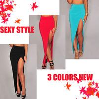 Light Blue /Red /Black Slit Maxi Skirt LC71072 saias femininas Pencil Skirt Long Sexy Style Free Shipping 2014