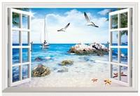 New Beach Seaview Landscape  PVC Fake Window Sticker 70*46cm  Art Mural Home Decor Removable Wall Sticker hj-38