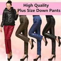 2014 New Winter Women's  Thick White Duck Down Pants Fashion Glossy Rhinestone Warm Pants Full Length Plus Size Trousers 4XL