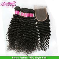 4pcs Bundles Loose With 1pcs Free Part Closure Berrys Hair products, 6A Peruvian Deep Wave Curly  Unprocessed Virgin 5pcs/lot