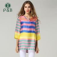 2014 Plus Size Blasa L-5XL Colorful Print Bohemian Chiffon Silk Blouse