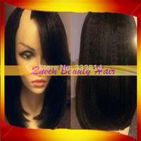 Freeshipping 100%unprocessed right side part Brazilian Virgin Yaki Kinky Straight short human hair u part wigs for black women