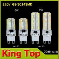 1Pcs Mini G9 6W 9W LED lamp 3014 SMD AC 200V 240V Sillcone body LED Corn Bulb 64LEDs 104LEDs Crystal Chandelier COB Spot light