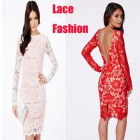 Open Back Lace Floral Pattern Midi Dress LC6757 Long Sleeve vestidos femininos de festa vestido long Free Shipping