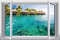 Seaview   fake window sticker 105*70cm sofa background  environmental art Removable wall sticker removable hj-31