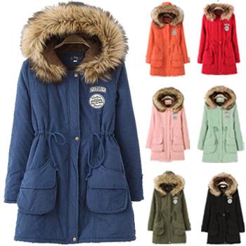 Зима пальто капюшон, парка женщины утолщение платье собрались талия военный пальто B-2022