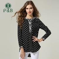 2014 Plus Size Big Yard Women Dot Print Long Sleeve Chiffon Blouse
