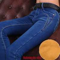 2014 Fashion Winter women warm jeans thicken plus velvet denim trousers elastic skinny pencil pants free shipping!