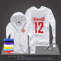 Dwight Howard #12 Basketball Super Star Hoodies Rockets Center Sweatshirt Men Zipper Hooded Cardigan Training Long-sleeved Tops