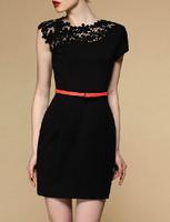 Hot Selling women Hollow Out mini Dress Black  & Sexy Party dress Casual Lace Dress Slim Bodycon Pencil Dresses LSJ1002XGJ