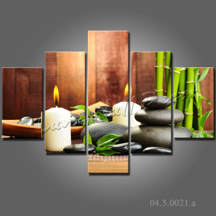 Framed canvas print painting ready to hang home decoration for Deco mural zen