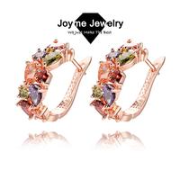 Joyme Brand 2014 new fashion AAA Quality women rose gold plated multicolor cubic zircon Stud earrings pierced Earring Jewelry