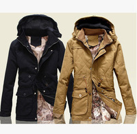 High quality  Casual Men long parka winter removable hood brand new windbreaker hooded outdoors cotton-padded coat