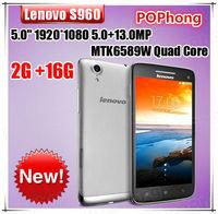 Original Guarantee Lenovo VIBE X S960 Phone MTK6589W Quad Core 2GB RAM 16GB ROM Back 13.0MP Dual CamerasGPS FM RAdio