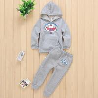 Winter cotton children clothing sets hooded jacket thick velvet outerwear cartoon cat Doraemon printing boy child hoodies fleece