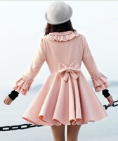 2014 Winter New Korean Slim bow sweet princess skirt woolen coat windbreaker jacket woman overcoat