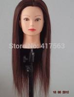 Manequin Dummy Training Head 100% High Temperature Fiber Brown Hair Training Mannequin Head With Hair