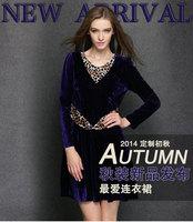 2014 brand new antumn winter fashion American style women's purple high-grade velout leopard purple stitching casual dressXL-4XL