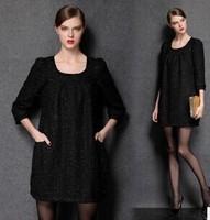 L-XXXXL Brand Black Loose half Sleeve Woolen Casual Dresses 2014 New Autumn Winter Fashion Plus Size Women Clothing work dress