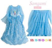 Brand Frozen Girls Summer Princess Dress Frozen Costume Sequined Cosplay Costume Anna & Elsa Lace Baby Dress Kids Party Wear