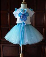 New children frozen elsa clothes princess suits fashion dot tutu skirt summer brand flower girls clothing set