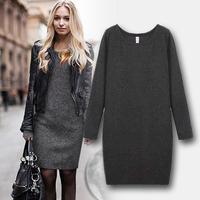 2014 Autumn  Women Fashion Velvet Plus Size Casual Dress Warm  Long Sleeve O-Neck Black Gray Blue Dark Gray Winter Dresses