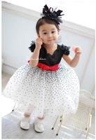 Brand Kids Girls Summer Princess Dot Yarn beautiful party dresses Lace Flower Baby Girl Dress 5pcs/lot