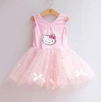 4PCS, New 2014 Cute Beautiful Girl Dress cartoon hello kitty sequins Princess Dresses Baby Girls tutu dress pink