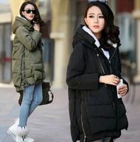 2014 new women Europe fashion loose casual medium long winter plus size down parkas lady coat black green padded jacket