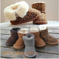 Leopard Print Pink Red Toddler Girl Boy Kids Children Shoes Winter Suede Fur Rubber Baby Ankle Snow Boots Australia Sheepskin