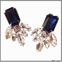 Famous Brand Shourouk Crystal earrings Jewelry Classic Blue rhinestone Silver stud earrings for women Fashion earrings 2014