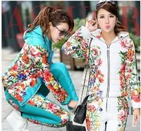 Winte Jacket Women Suit 2014 New Spring Autumn Plus Size Floral Printed Slim Casual Parka (Coat+Pants) Set