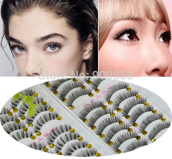10Pairs Black Natural Long Curling Thick False Eyelashes Fake Eye Lashes Makeup Tips Natural False Eyelashes Invisible Band(China (Mainland))