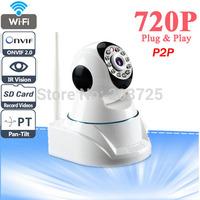 Onvif P2P Plug and Play 720P MegaPixel HD Wireless IP Camera with Pan/Tilt SD Card Slot and IR Cut 720p(1280x720)