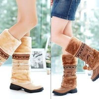 2015 New Fashion Half Over Knee High Snow Boots Women Casual Platforms Shoes Beaded Furry Warm Winter Boots