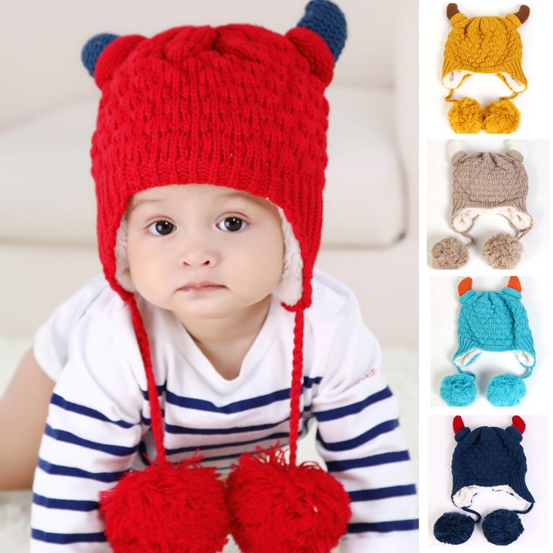 Baby Hat Cattle Horn Shaped Baby Warm Winter Crochet Caps Baby Animal Hats Children's New Cute Hats Caps(China (Mainland))