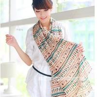 Free Shipping New Fashion Soft Scarves Muffler Promotional Discounts Chiffon Velvet Geometric and Elegant Women Print Scarf