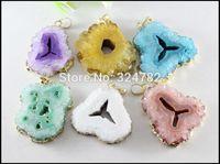 6pcs New Fashion Nature Druzy Agate Geode Pendant,Drusy Agate Crystal Gem stone Pendant,Gold Tone Druzy Pendant Jewelry findings