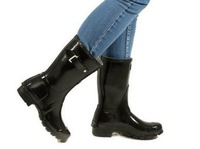 H High quality fashion Original Brand Mid-calf short rain boots low heels waterproof welly boots rainboots water shoes