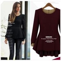 Wholesale fashion xl 2xl 3xl 4xl 5xl plus size women clothings 2014 autumn winter long sleeve knitted desigual blouses shirts