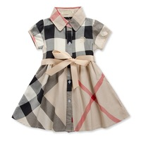 New fashion children clothing sets cotton girls' plaid short-sleeve dresses with sashes baby kids clothes girls princess dress