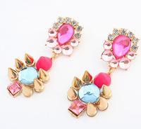 Lovely Pink Rhinestone Dangle Earrings New Fashion Statement Drop Earrings Trendy Jewelry  BJE908932