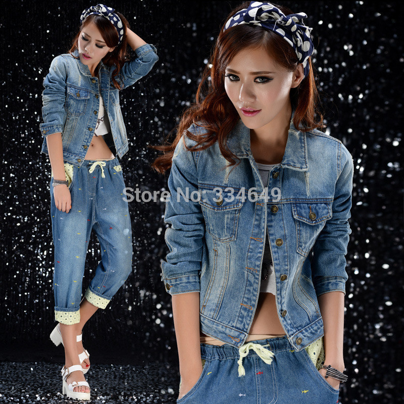 2015 New Women's Fashion Slim Patchwork Denim Jackets Classical Outwear Jeans Coat Jackets(China (Mainland))