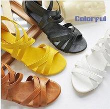 Usine de vente de haute qualité taille 35 - 43 chaussures femmes talon plat gladiateurs bohême chaussures de sport sandales plates chaussures pour femmes(China (Mainland))