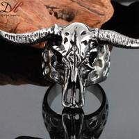 2015 Fashion New High Quality Super Cool Rings Punk Biker Men Ring Wild Goats Head Zodiac Animals Men Steel Rings 3pcs/lot
