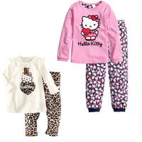 100% cotton Autumn Winter Paijamas Kids Christmas Pajamas Girl Sleepwear Pyjamas Hello Kitty T Shirt +Pants Set