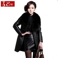 2015 Winter Coat Long Women Down Fur Coat  Woman PU Leather Coats Parka Coats High Quality Women Jacket Plus Size