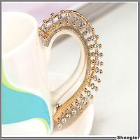 New arrival 2014 Crystal ear cuff earrings Gold rhinestone Moon ear clips for women girls clip earrings cuff Jewelry