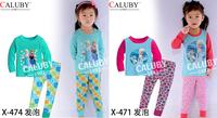 New 2014 Girls Elsa Princess Clothing set Kids Autumn -Summer Pajamas Sets  Children Frozen 2-7Y Pyjamas 6styles
